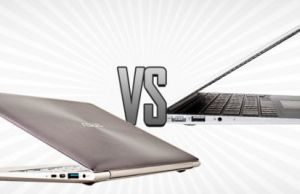The Asus UX31 (on the left) and the MacBook Air (right)
