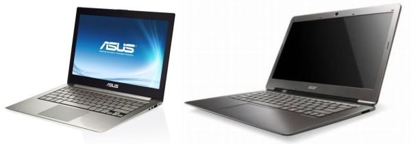 The Asus UX31 (on the left) and the Acer S3 (on the right).