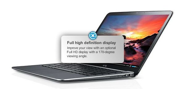 The Dell XPS 13 is now offered with a 13.3 inch IPS Full HD screen
