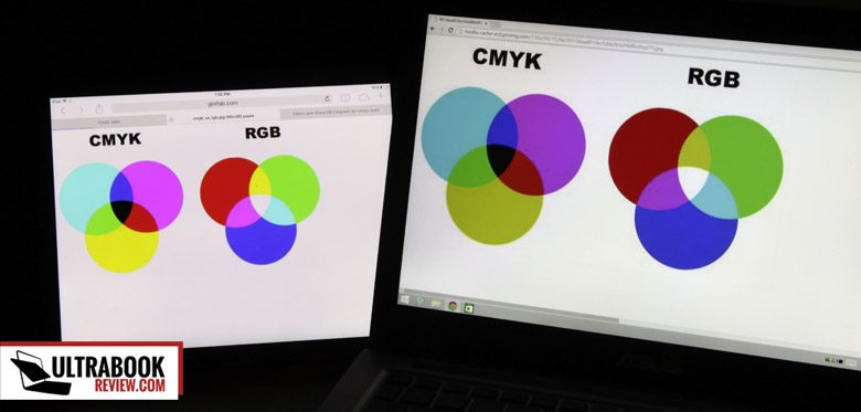CMYK and RGB colors - iPad Air (left) vs Zenbook UX 303LN (right)
