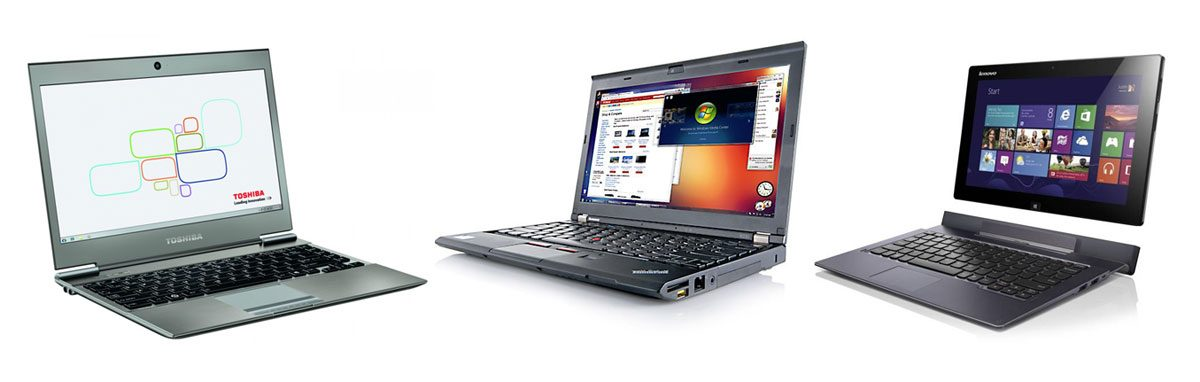 From left to right: Toshiba Z930, Lenovo ThinkPad X240 and ThinkPad Helix