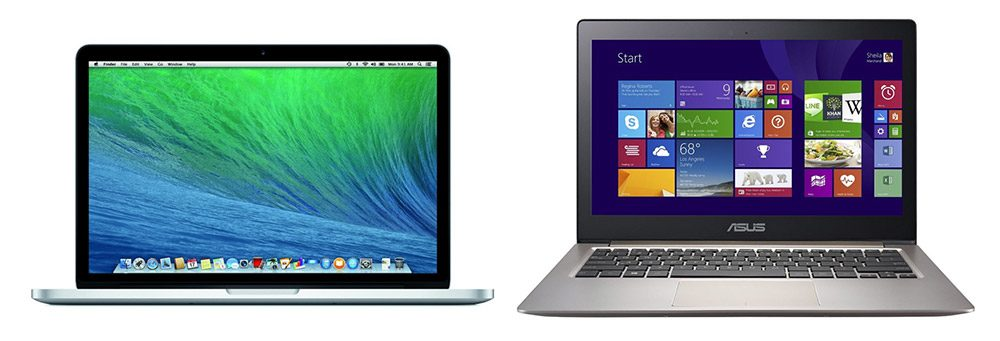 Two premium 13 inchers: the Apple MacBook Pro 13 (Left) and the Asus Zenbook UX303LN (Right)
