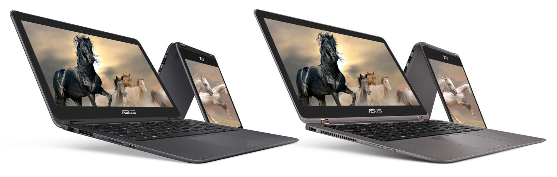 While the Zenbook Flip UX360CA (left) and UX360UA (right) might appear similar on a first glance, there are actually a fair amount of differences between them