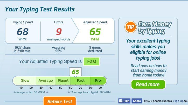 online typing test 3 minutes