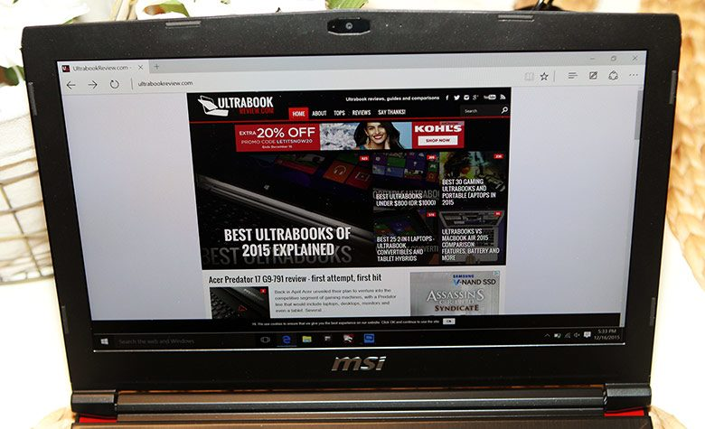 MSI went for a pretty good IPS matte panel on this laptop