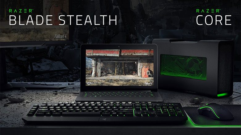 Hooked to the Razer Core, the Blade Stealth can tackle games and other tasks that require serious graphics power