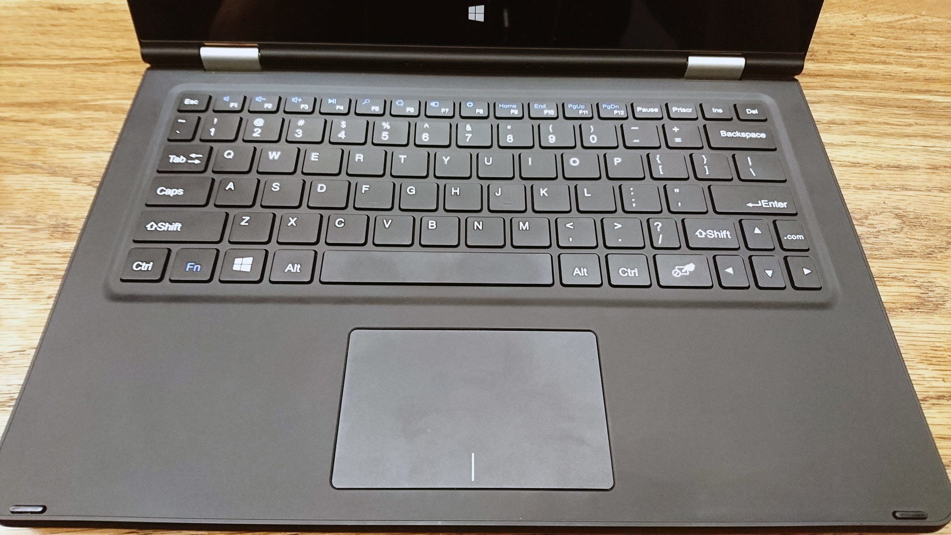 The keyboard is half-decent on this thing, but the trackpad is crappy