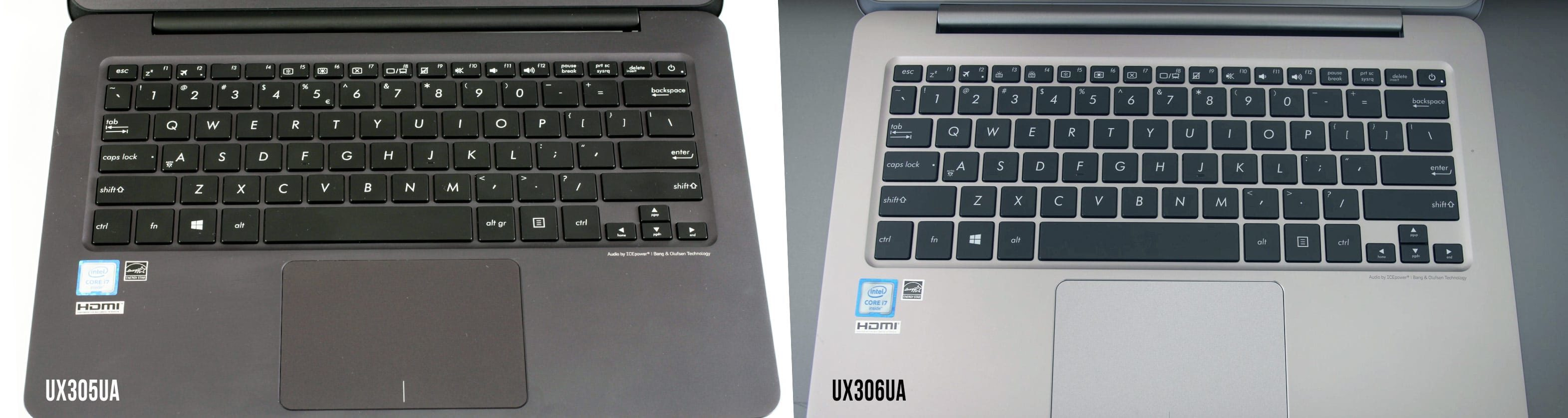 The UX306UA gets a better keyboard with back-lightning and an improved trackpad as well