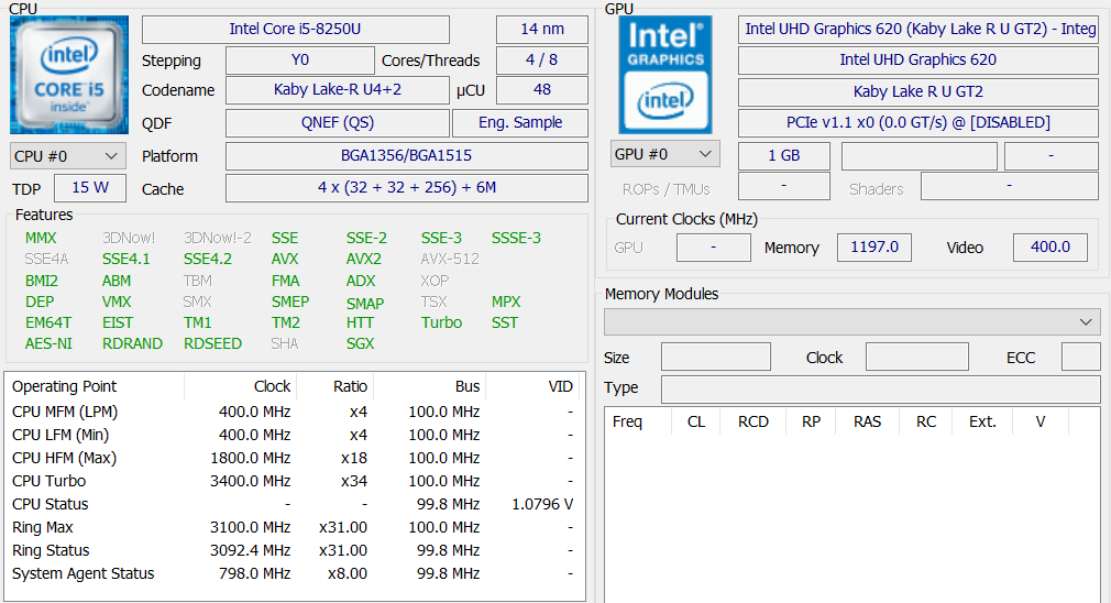 Intel Core i5-8250U (Kaby Lake-R, 8th generation) benchmarks