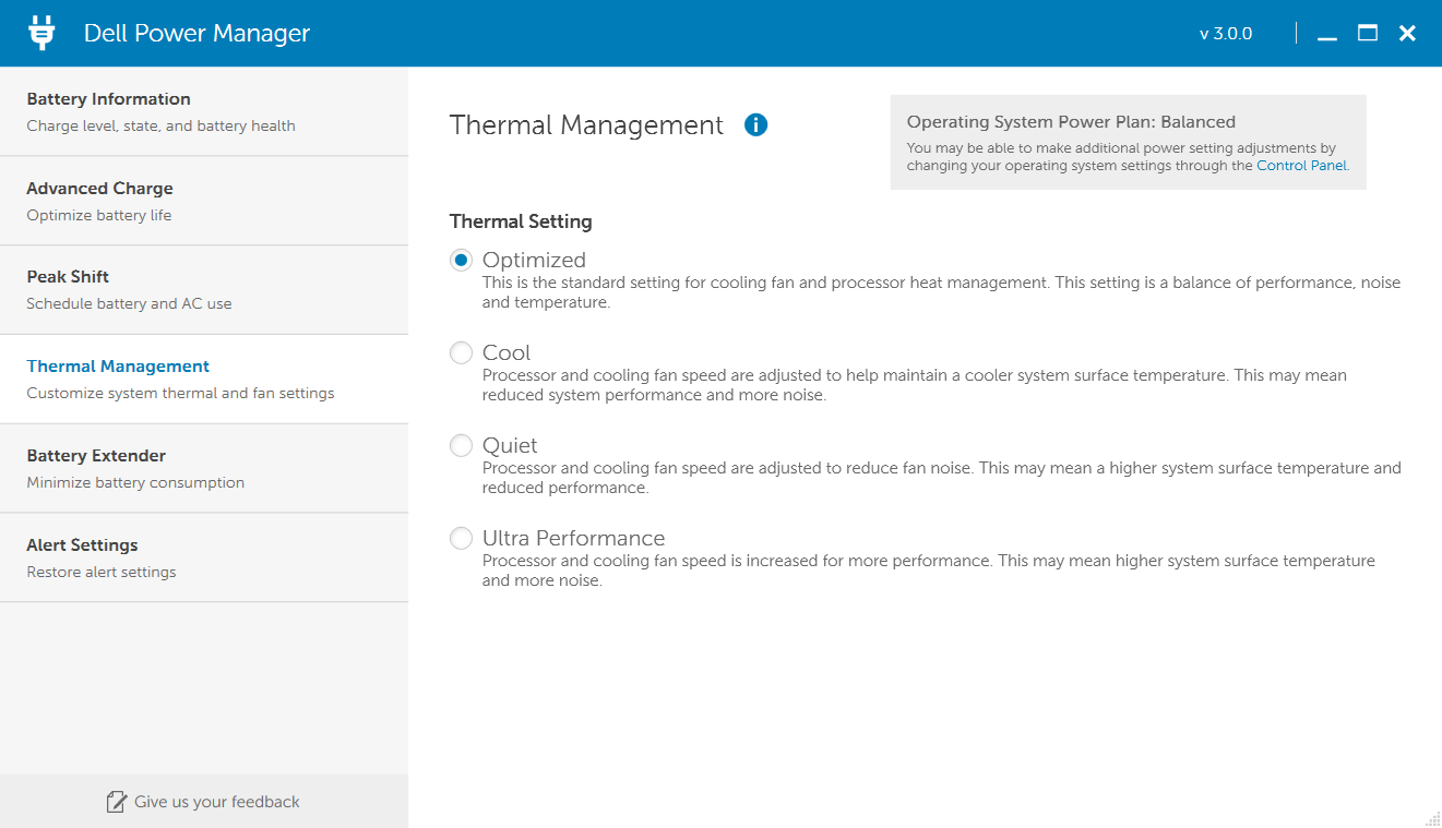 Dell's Power Manager software allows some customization of fan behavior.