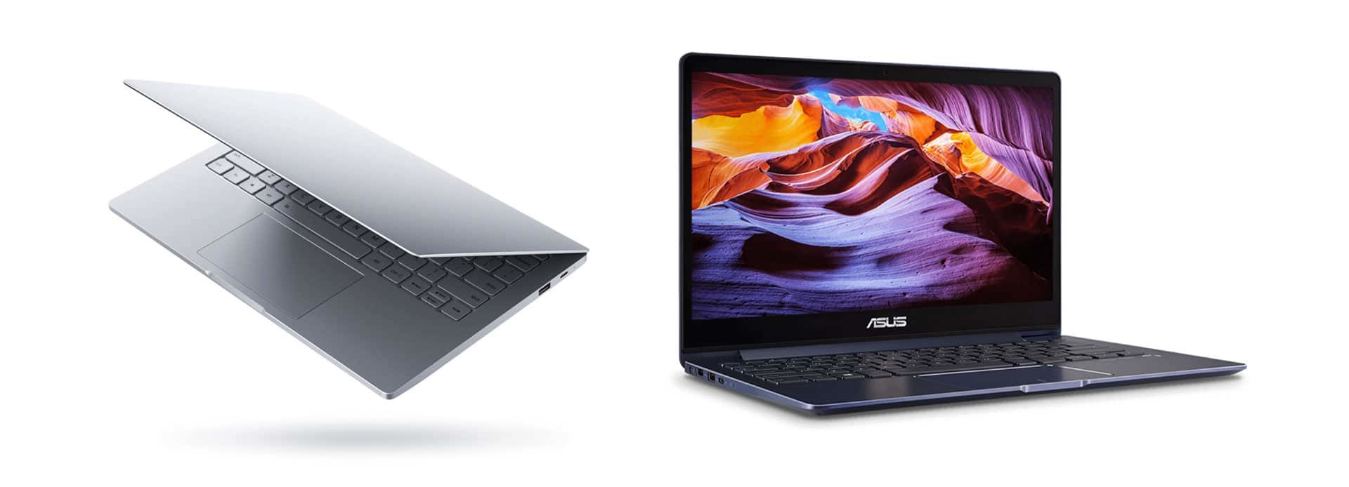 Some of the ultraportable gaming laptops available these days: Ziaomi Notebook Air (left) and Asus Zenbook UX331 (right)