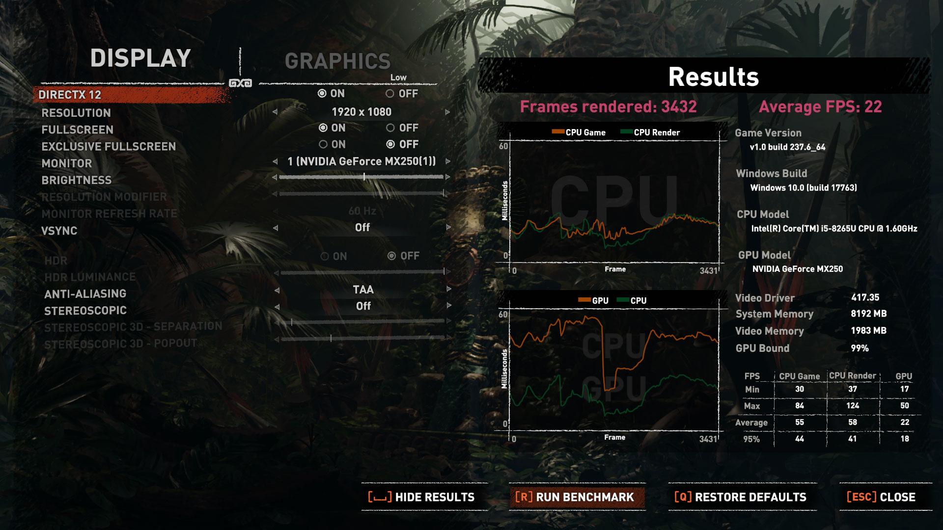 Nvidia GeForce MX250 (1D13or 1D52) benchmarks vs GeForce MX150