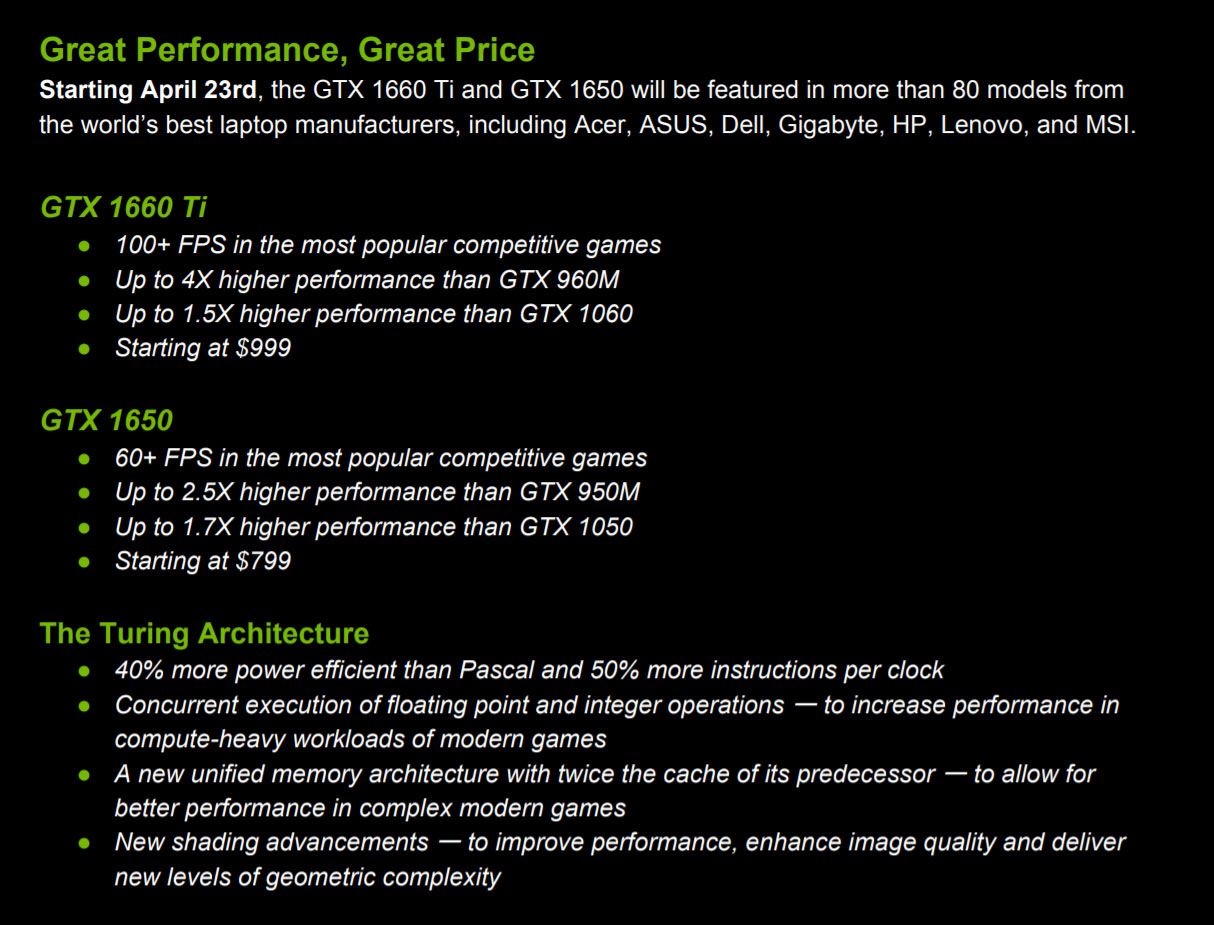 Nvidia GTX 1650 and 1660 Ti laptops - what to expect (the complete list)
