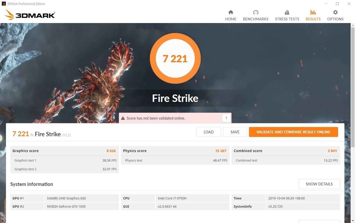X1E Gen 2 firestrike scores