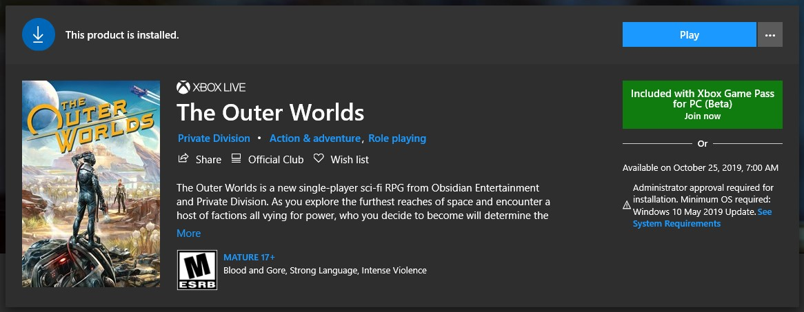 The Outer Worlds on the Microsoft Store