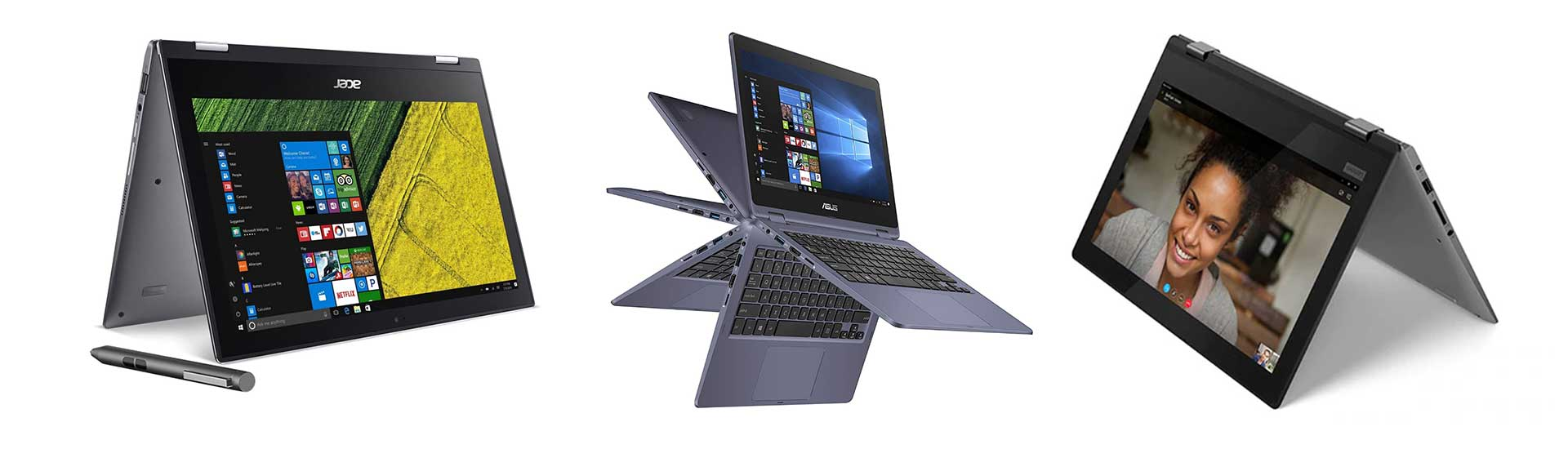Some of the affordable 2-in-1 convertibles: Acer Spin1, Asus VivoBook Flip 11 and Lenovo Flex 11
