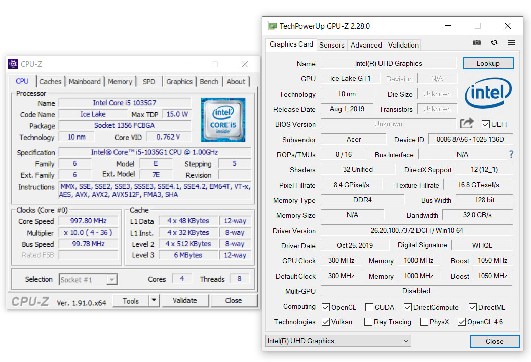 Intel Core I5 1035g1 Benchmarks And Tests Vs I5 10210u I5 8265u And Ryzen 5 3500u