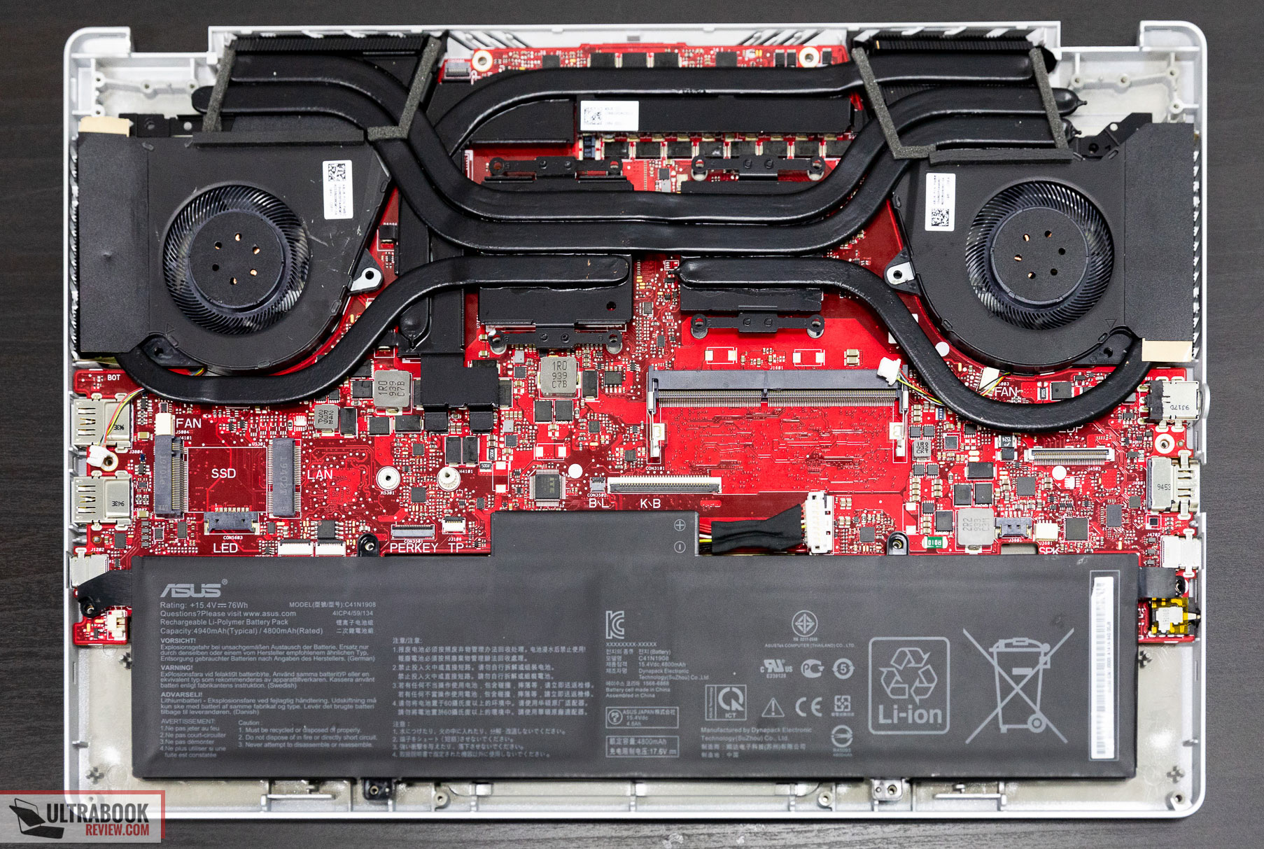 Asus Zephyrus G14 internals and dissasembly