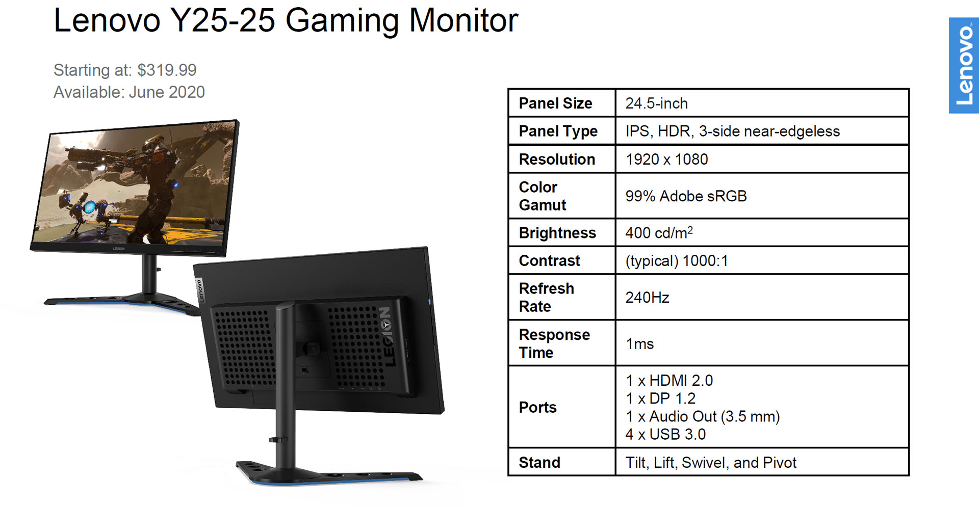 Lenovo Legion Y25-25 240Hz IPS gaming monitor