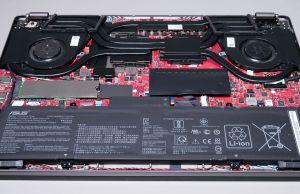 Asus ROG Zephyrus G14 GA401IV - battery and speakers