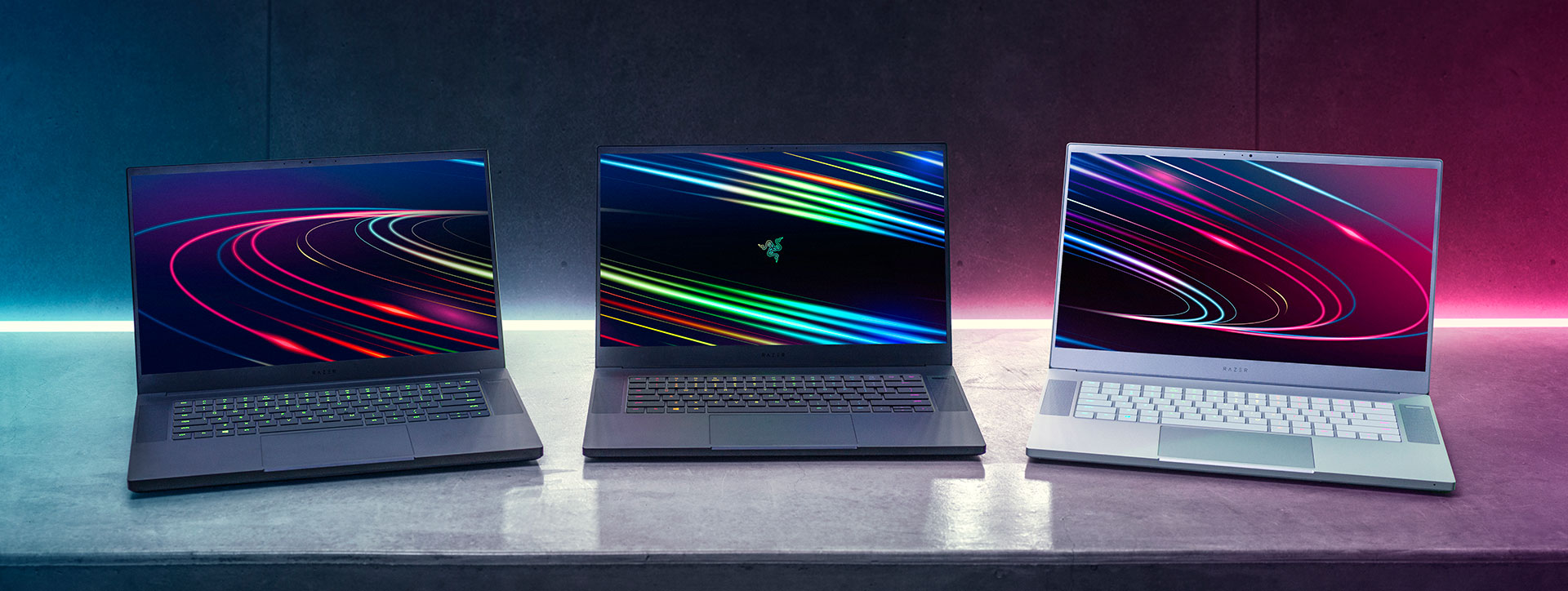 2020 Razer Blade 15 lineup- Base and Advanced, Black or White color schemes