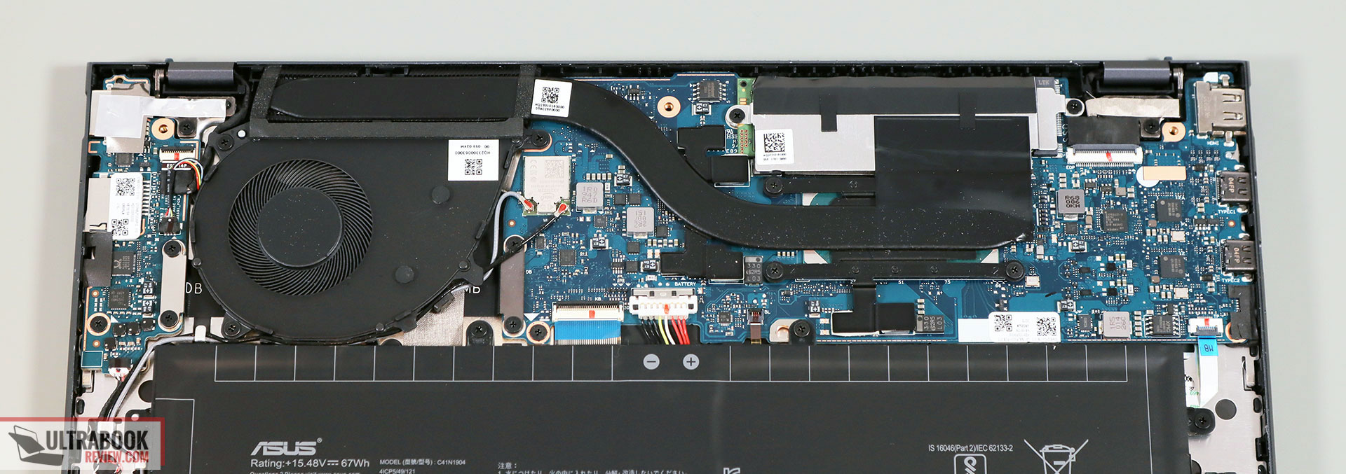 Asus ZenBook 13 UX325JA cooling and thermal design
