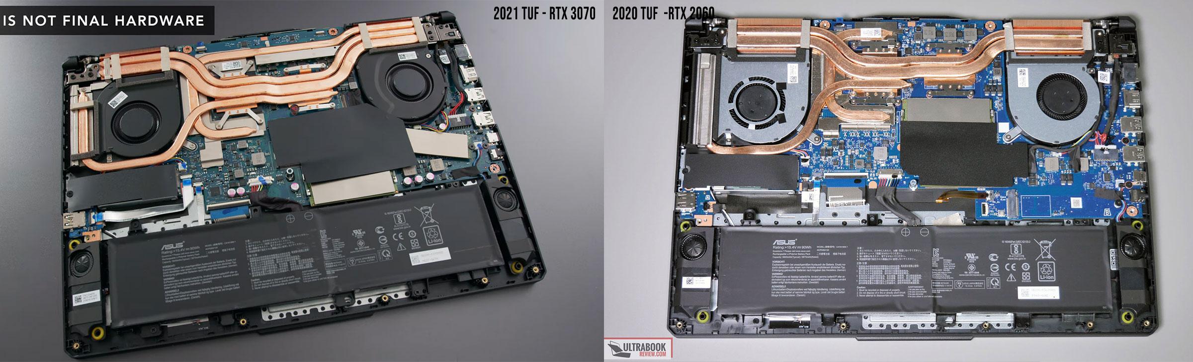 2021 vs 2020 TUF 15-inch thermal designs