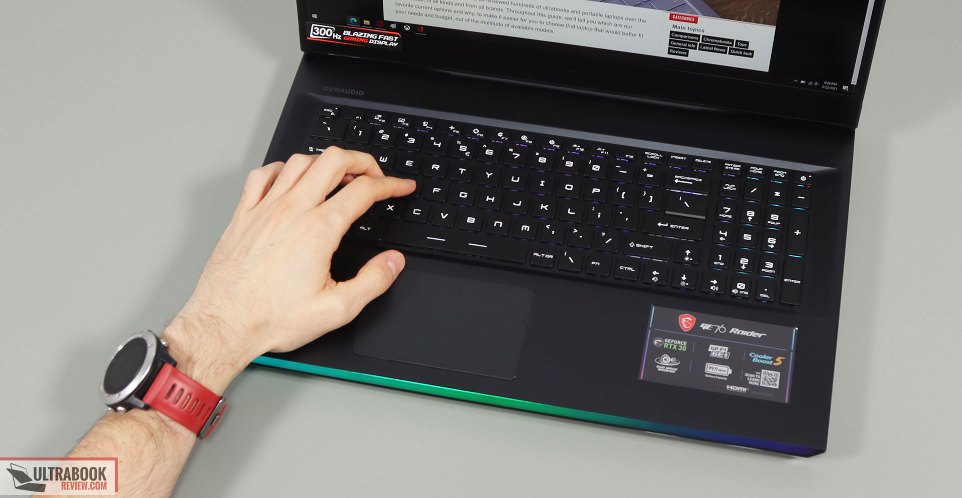 MSI GE76 Raider keyboard and clickpad