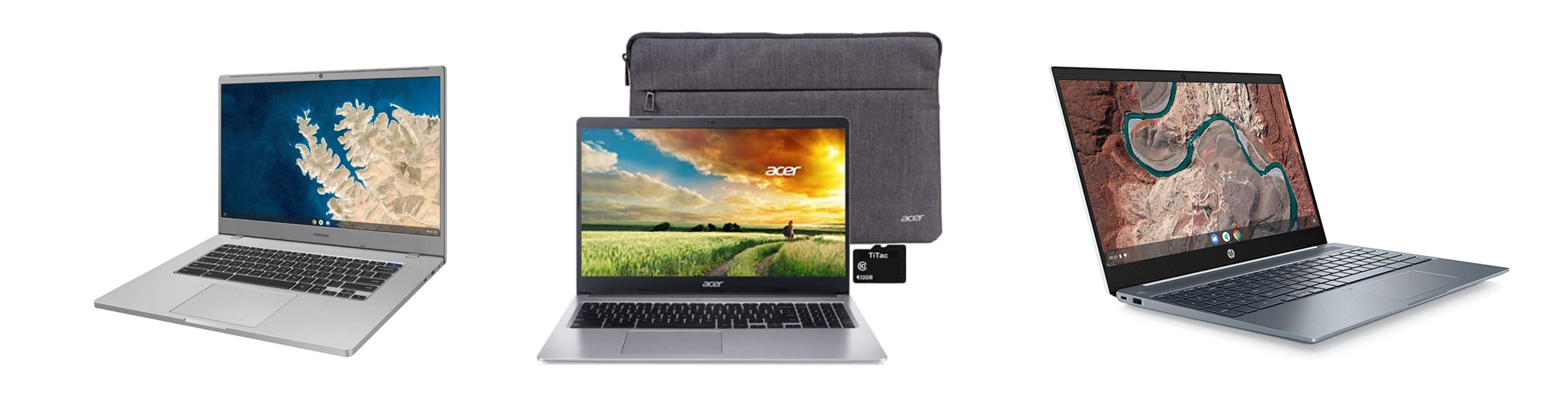 Budget 15-inch ChromeBooks from Samsung, Acer and HP, from left to right