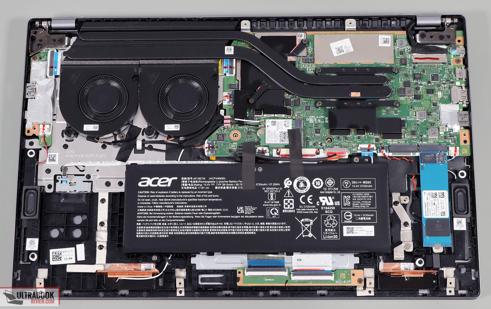 Acer Swift X SFX16-51G - internals and disassembly